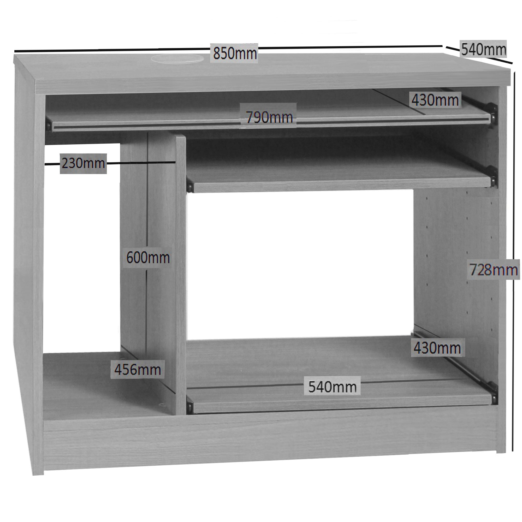 Desk Height Computer Work Station With Hutch Bookcase R