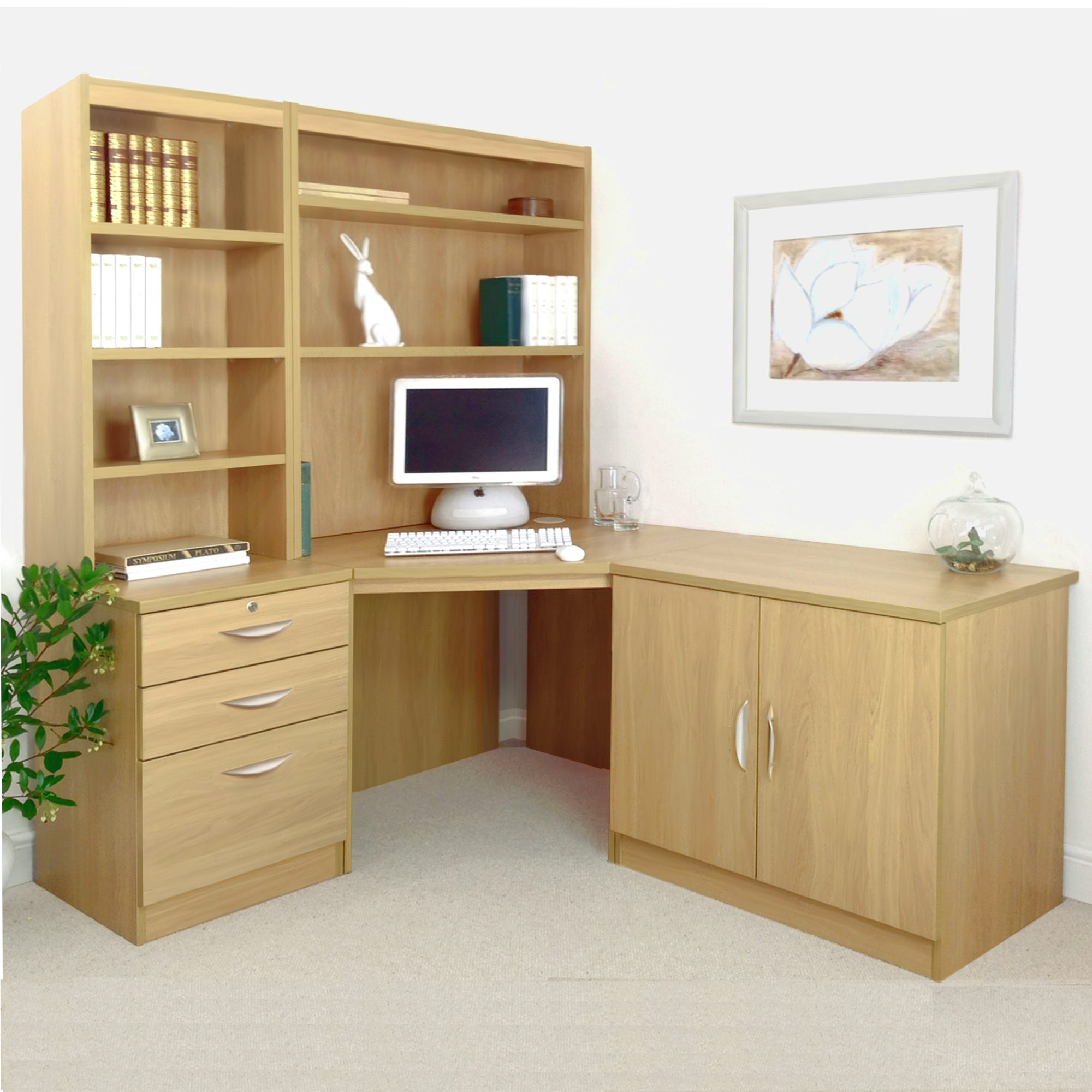 Corner Desk, Cupboard & Drawer Units With Hutch